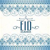 stock photo of eid festival celebration  - Beautiful floral design decorated greeting card for Muslim community festival - JPG