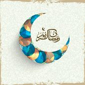 image of crescent-shaped  - Shiny crescent moon with Arabic Islamic calligraphy of text EId Mubarak on grungy background for Muslim community festival celebration - JPG
