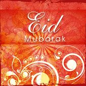 image of eid festival celebration  - Beautiful floral design decorated greeting card for Islamic holy festival - JPG