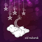 pic of crescent  - Elegant greeting card design decorated with hanging stars and crescent moons on clouds for Islamic famous festival - JPG
