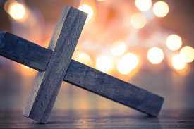 image of christianity  - A wooden Christian cross with a soft bokeh lights background - JPG