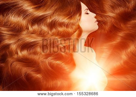 poster of Model with long red hair. Waves Curls Hairstyle. Hair Salon. Updo. Fashion model with shiny hair. Wo