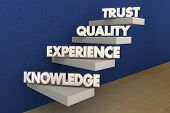 Knowledge Experience Quality Trust Reputation Steps 3d Illustration poster