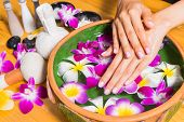 Woman Hands With A Bowl Of Aroma Spa Water On Wooden Table poster