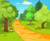 Hand drawn cartoon of summer landscape. Colourful cartoon of summer background. Cartoon background o poster