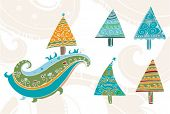 Hand drawn christmas tree set. 