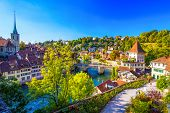 View Of Bern Old City Center With River Aare, Switzerland. poster