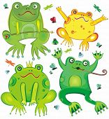 Funny vector set of cute frogs