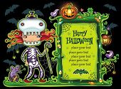 picture of candy cane border  - Halloween frame with cute girl dressed as a skeleton - JPG