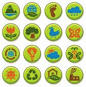 ECO. Wooden environment icons set