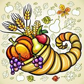 stock photo of cornucopia  - Thanksgiving theme - JPG