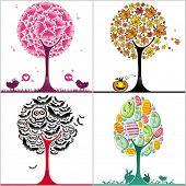 vector set of colorful stylized trees: Valentine's day heart tree, autumnal tree with fallen leaves, Halloween bats tree, and colorful easter egg tree, with cute bunnies.
