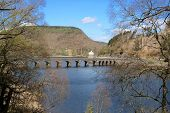 Stone Bridge Over A Reservoir In The Elan Valley, Wales, Uk