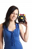 Young Woman Piggy Bank Shoulder