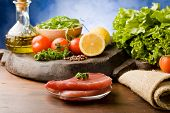 Raw Tuna Steak With Ingredients Arround