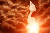 Постер, плакат: Model with long red hair Waves Curls Hairstyle Hair Salon Updo Fashion model with shiny hair Wo