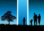 Concept illustration of a family walking on a warm evening.