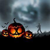 Постер, плакат: Страшно Хеллоуин вечером векторные иллюстрации