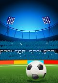 stock photo of football pitch  - A football  placed on a football stadium - JPG