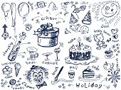 Holiday doodles Vector. Visit my portfolio for big collection of doodles