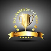 vector trophy in golden color in business leading theme