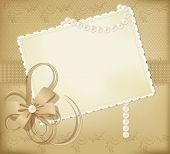 Congratulation Gold Retro Background With Ribbons,pearls,bow