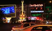 A night shot of the Hard Rock Cafe