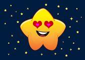 Loving Star Cartoon Character Illustration In Vector