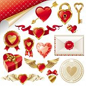 picture of corazon  - Vector set with Valentines signs and symbols - JPG