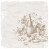 Vector vintage still life with wine and foods