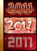 New year 2011 - Three different vector design