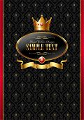 Royal vector background with golden frame, ribbon & crown of a king