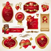 Valentines vector set with ornate golden luxury frames, hearts & objects