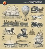 image of historical ship  - Vector set of vintage historical transport - JPG