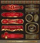 Vector set of vintage framed golden labels, borders, patterns, ornament & other decor on wood textur