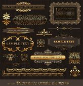 Vector set of golden ornate page decor elements: borders, banner, dividers, ornaments and patterns o