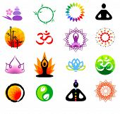 stock photo of taoism  - vector oriental icons set - JPG