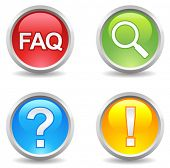 vector internet buttons - faq, search, help, attention;