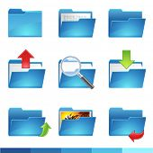 stock photo of file folders  - 9 vector folder icons set1 - JPG