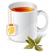 vector tea mug with teabag label and leaves. There are VARIETY of tea things in my portfolio ;) Plea