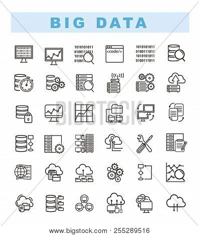 poster of Big Data Icons Set And Web Analytics Icons Set. Data Analytics And Network Concept Icons. Database A