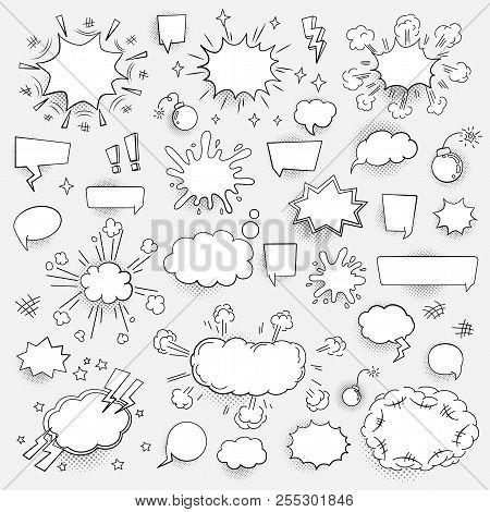Set Of Speech Bubbles Clouds