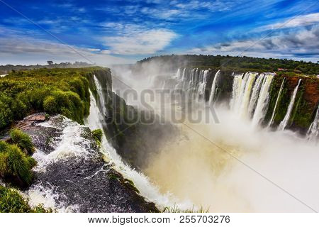 The fullflowing waterfall in the