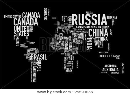 World map countries in wordcloud image id25593356 world map countries in wordcloud picture gumiabroncs Images