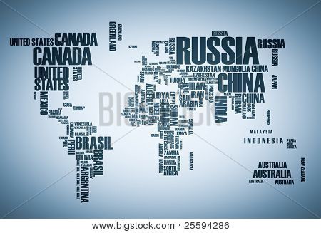 World map countries in wordcloud poster id25594286 world map countries in wordcloud poster gumiabroncs Gallery