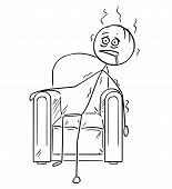 Cartoon Stick Drawing Conceptual Illustration Of Exhausted Man Sitting Collapsed In Armchair. poster