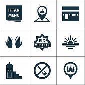 Religion Icons Set With Menu, Eid Mubarak, Pray And Other Place Elements. Isolated Vector Illustrati poster
