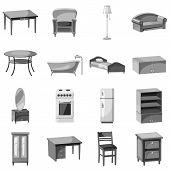 Furniture And Household Appliances Icons Set. Gray Monochrome Illustration Of 16 Furniture And House poster