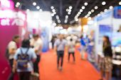 Abstract Blurred Event Exhibition With People Background, Business Convention Show Concept. poster