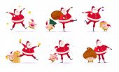 Vector Set Of Flat Merry Christmas Illustration With Santa Claus And Cute Pig Elf Companions In Diff poster